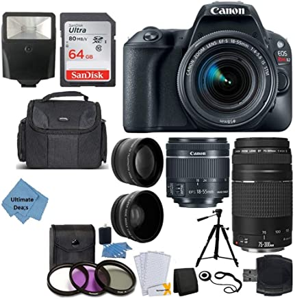 $619 Get Canon EOS Rebel SL2 DSLR Camera + EF-S 18-55mm is STM + EF 75-300mm III + 64GB Memory Card + Wide Angle & Telephoto + Remote + Slave Flash + Quality Tripod + Case – Ultimate Bundle