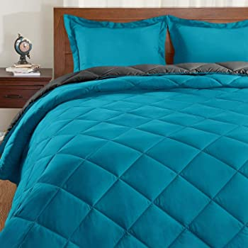 Basic Beyond Down Alternative Comforter Set (Queen, Algiers Blue/Charcoal Gray) - Reversible Bed Comforter with 2 Pillow Shams for All Seasons