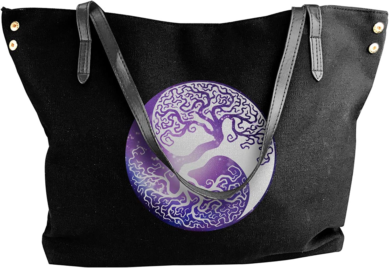 Tree Of Life Yin Yang Galaxy Women'S Recreation Canvas Shoulder Bag For School Shoulder Tote