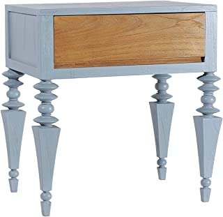 Asta Solid Wood 1-Drawer Nightstand, Side Table, Glam Collection, GG-201/BLU (Blue)