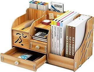 لوازم المدرسة التخزين DIY منظم مكتب خشبي مع درج، حامل القلم صندوق سطح المكتب المكتبية للطلاب
