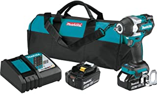 """Makita XWT18T 18V LXT Lithium-Ion Brushless Cordless 4-Speed Mid-Torque 1/2"""" Sq. Drive Impact Wrench Kit w/ Detent Anvil (..."""
