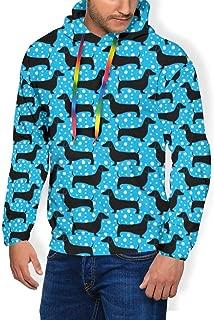 Men's Hooded Fleece Sweatshirt Dog Dachshund Doxie Puppy