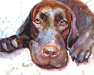 "Chocolate Labrador Retriever Art Print,Chocolate Lab Gifts,Original Painting,dog watercolor,dog painting8x10"" and 11x14"" S..."