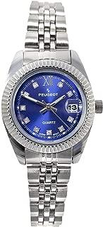 Peugeot Women's Luxury Status Wrist Watch with Fluted Bezel, Steel Bracelet and Date Window