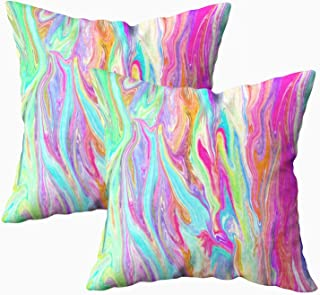 Musesh Pack of 2 Liquid Color neon Cushions Case Throw Pillow Cover for Sofa Home Decorative Pillowslip Gift Ideas Household Pillowcase Zippered Pillow Covers 18X18Inch