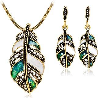 Joya Gift Vintage Enamel Crystal Jewelry Set Necklace Ring Leaf Teardrop Earrings Set for Women