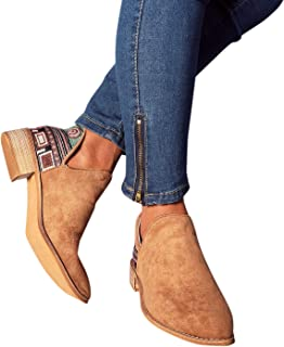 LALA IKAI Women Embroidered Ankle Boots Round Toe Stacked Heels Side Slit Flats Booties