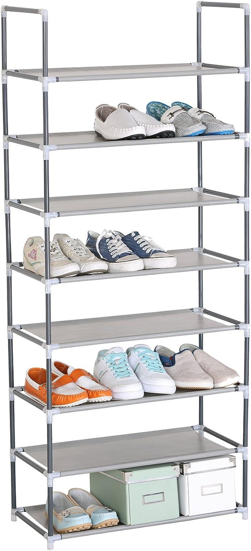 WOLTU Zapatero Estante para Zapatos Estante de Baño Armario para Zapatos 10 Niveles Estantería con Capacidad de 50 Pares, Plástico ABS y Tubo de Acero ...