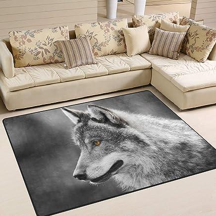 a3eecd943872 Use7 Alfombra Gris Lobo área Alfombra Alfombra para salón Dormitorio, Tela,  160cm x 122cm