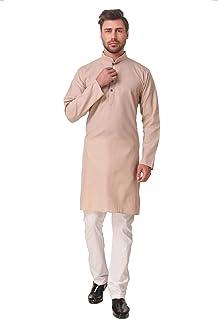 Kacery Men's Indian Cotton Plain Short Kurta Pajama AN530