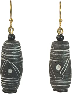 NOVICA Black Brass Beaded Earrings, African Stripes'