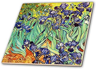 3dRose 3D Rose Irises by Vincent Van Gogh 1889-purple Flowers iris Garden-Copy of Famous Painting by The Master-Ceramic Ti...