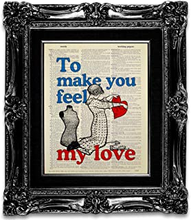 To Make You Feel My Love Inspirational Quote Wall Art Print, Unique Seamstress Gift for Woman, Sewing Room Decor Vintage Dictionary Art Print, Quilting Wall Decor