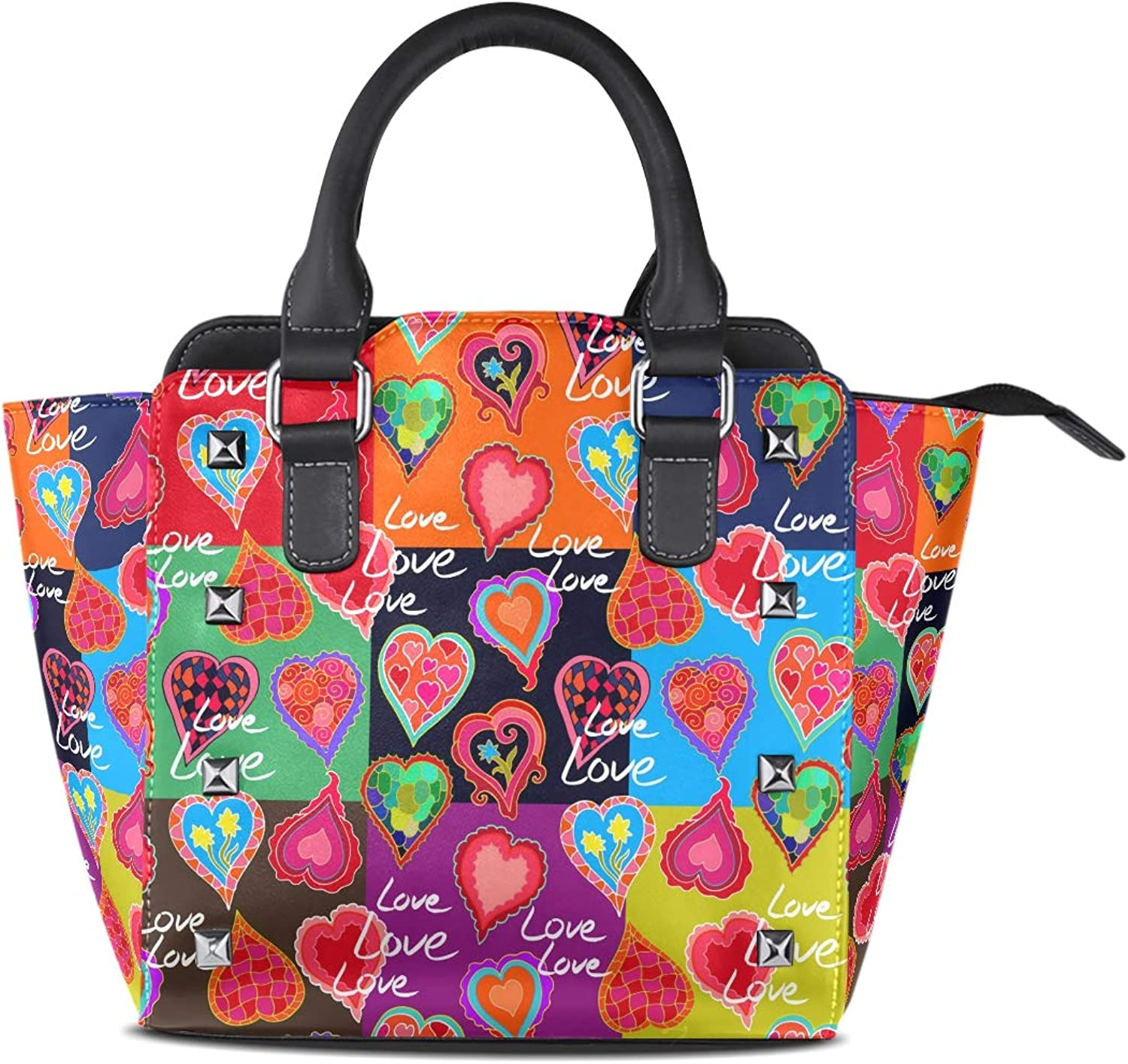 My Little Nest Women's Top Handle Satchel Handbag colorful Doodle Hearts Patchwork Ladies PU Leather Shoulder Bag Crossbody Bag