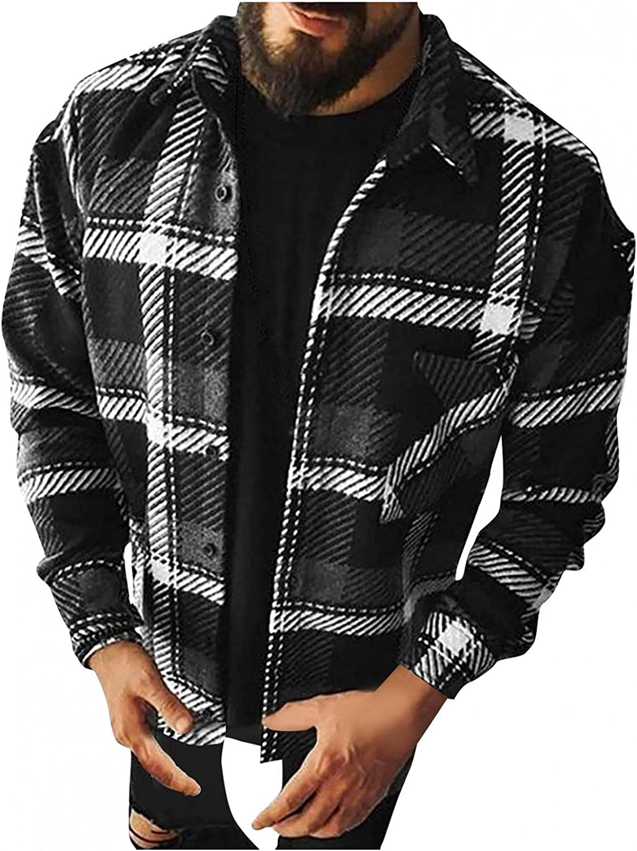 LEIYAN Mens Woolen Fleece Jackets Casual Long Sleeve Lapel Button Down Plaid Work Business Cardigan Coat