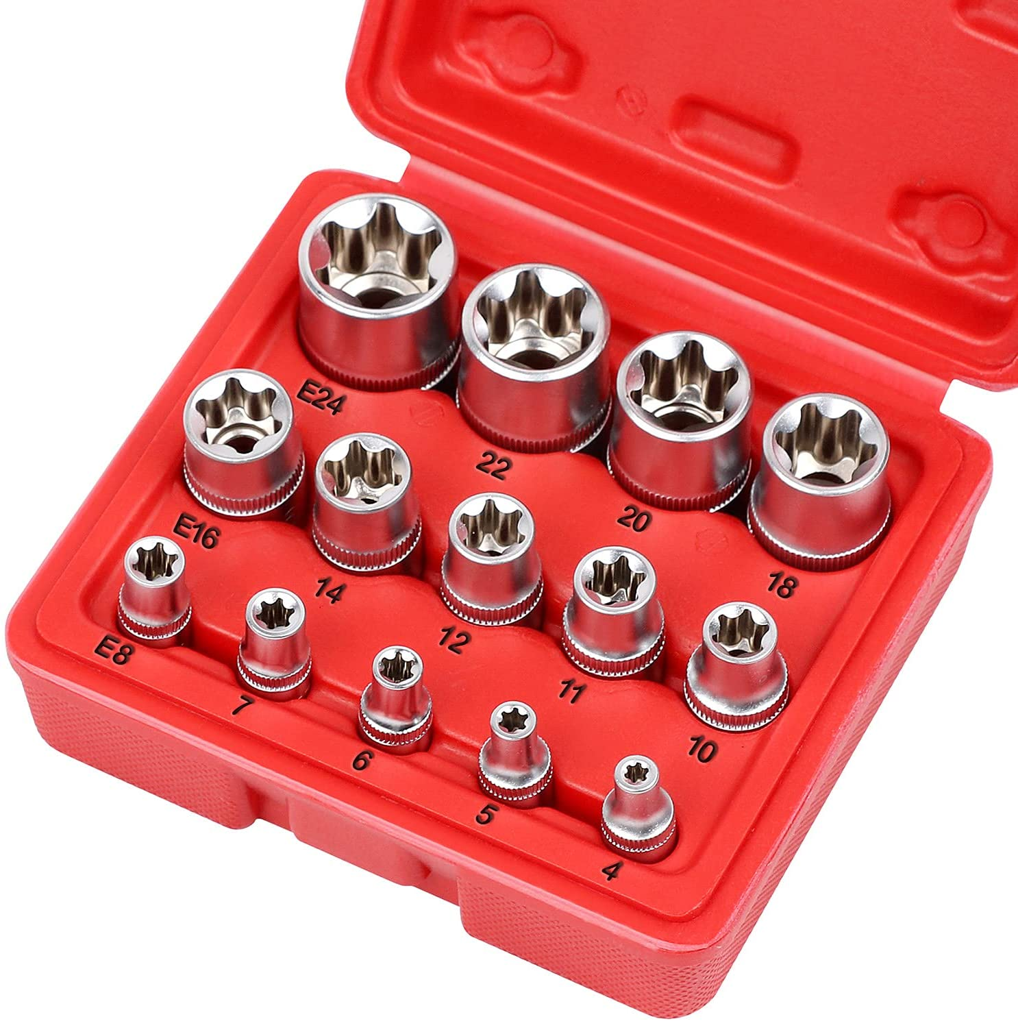 SEDY 14-Pieces Female E-TORX Star Socket with Animer Ranking TOP6 and price revision 1 Set Case 4
