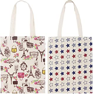 FashionBoutique Set of 2 Heavy Duty Cotton Canvas Reusable Shopping Tote Bag or Daily Use Bag with Beautiful Pattern and Large Inner Pocket (2, Star + Fashion Paris)