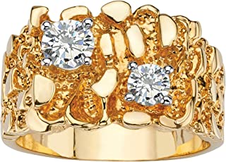 Palm Beach Jewelry Men's 14K Yellow Gold Plated Round Cubic Zirconia Nugget Ring