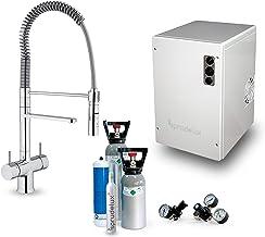 SPRUDELUX Système d'eau potable sous-évier Power Soda incluse Robinet à ressort hélicoïdal avec douchette Luxe Chrome Mach...