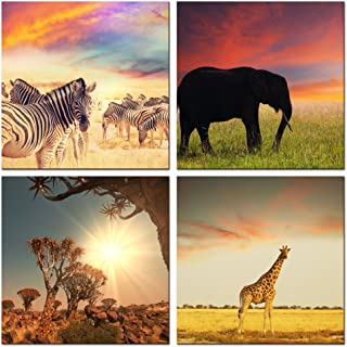 Live Art Decor - Wild Animal Canvas Wall Art - African Sunrise Painting,Zebra,Elephant,Giraffe Picture Photo Canvas Prints - Framed Artwork for Home Living Room Wall Decoration