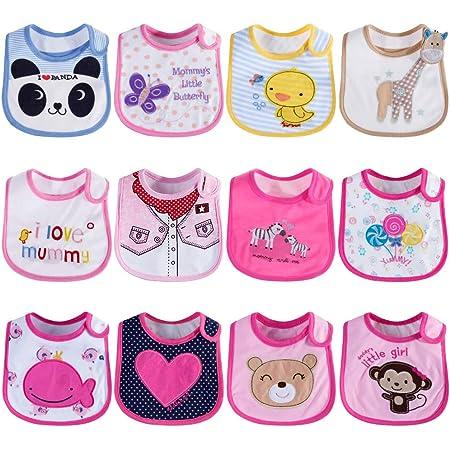 Lictin Baberos de Bebé-12pcs Baberos de Bebé para Niños Baberos de Bebé Impermeables con Diferentes Estampados Ajuste Unisexo para Bebé de 3-24 meses(Rosa)
