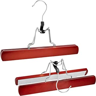 Bartnelli Wooden Skirt Hangers with Clamp - Clamping Trouser Hanger for Jeans, Slacks and Pants – Solid Wood with Chrome Swivel Hook – Cherry Finish - Pack of 10