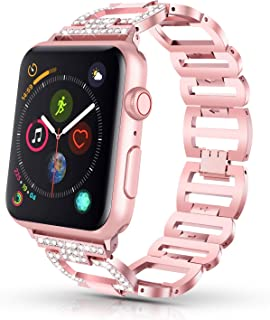 GaoBao Bling Band for Apple Watch Band 38mm 40mm iWatch Band Series 5,Series 4,Series 3,Series 2,Series 1,Diamond Rhinestone Stainless Steel Metal Replacement Wristband Bracelet for Women, Rose Gold