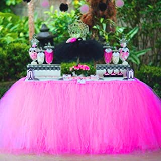Tulle Table Skirt Fabric Tutu Table Cloth for Rectangle or Round Tables / Fashion Deluxe Romantic Wedding Birthday Party Baby Shower Decorative tablecloth / Table Cover (Rose Red L:3ft H:2.6ft)
