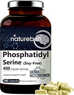 PhosphatidylSerine 400mg Per Serving, 180 Capsules, No Soy, Phosphatidylserine Supplement from Sunflower Lecithin, Support...