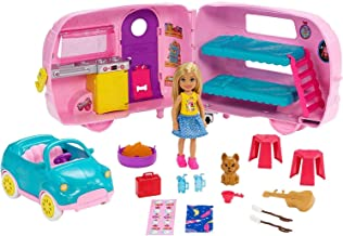 ​Barbie Club Chelsea Camper Playset with Chelsea Doll, Puppy, Car, Camper, Firepit, Guitar and 10 Accessories, Gift for 3 to 7 Year Olds