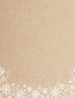 White Snowflakes Brown Kraft Holiday Christmas Stationery Paper - 80 Sheets
