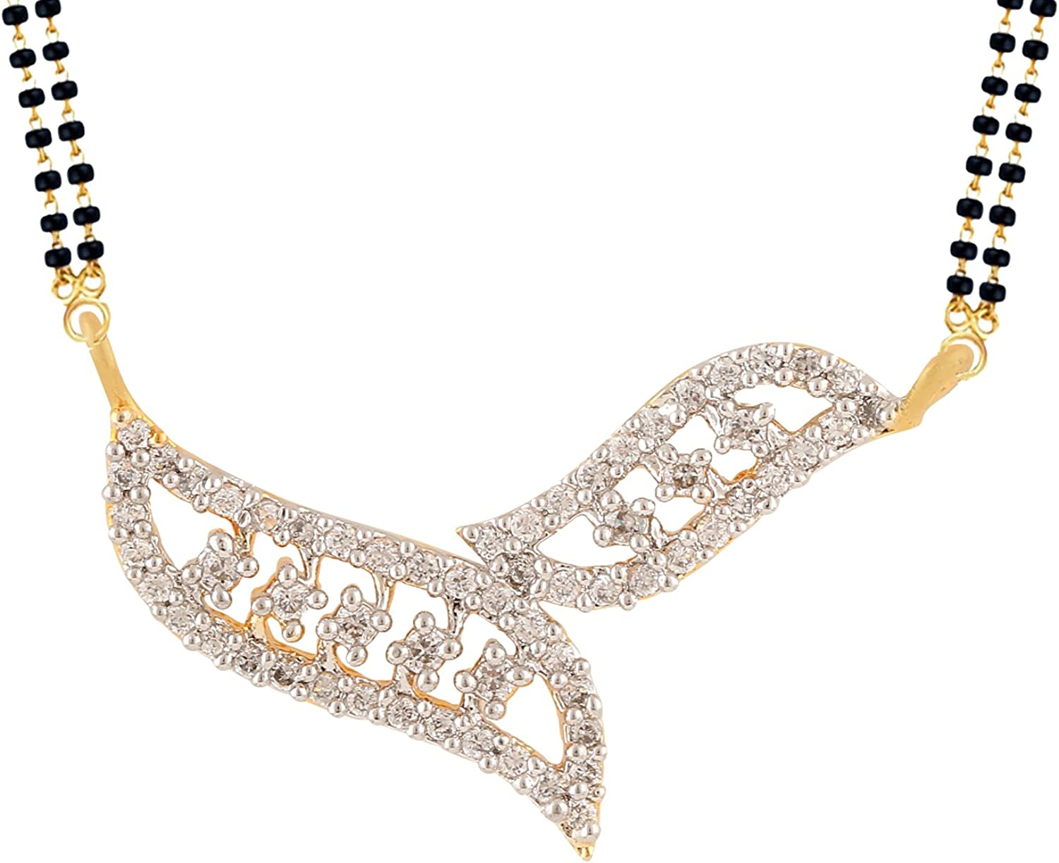 Efulgenz Gold Tone Indian Bollywood Ethnic Traditional Mangalsutra Pendant with Chain Jewelry for Women