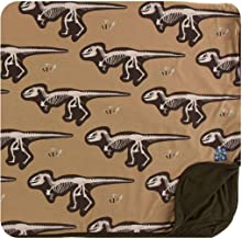 KICKEE Print Toddler Blanket (Tannin T-Rex Dig, One Size)