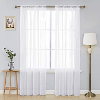 Deconovo White Sheer Curtains 90 Inch Length-Rod Pocket Voile Drape Curtains for Living Room 2 Panels 60x90 Inch