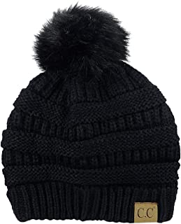 Exclusive Soft Stretch Cable Knit Faux Fur Pom Pom Beanie Hat