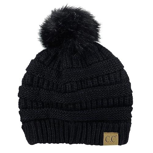 39d82f9de7f NYFASHION101 Exclusive Soft Stretch Cable Knit Faux Fur Pom Pom Beanie Hat