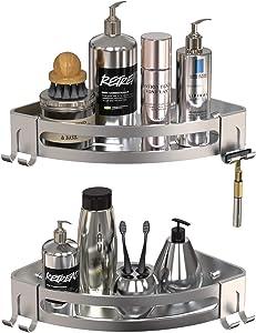 GeekDigg 2-Pack Corner Shower Caddy, Durable Aluminum Basket Shelf for Shampoo Conditioner Bathroom Kitchen Storage Organizer with Razor Holder No Drilling