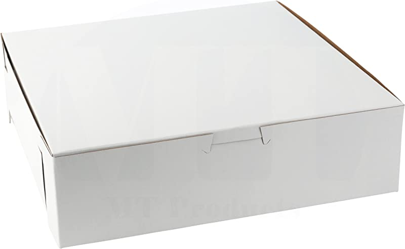 MT Products Tray Clay Coated Kraft Paperboard Non Window Lock Corner Bakery Box 9 Length X 9 Width X 2 5 Height White Pack Of 15 Does Not Hold A 9 Pie