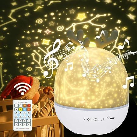 URAQT Lámpara Proyector Estrellas, Proyector Bebe, 360° Rotación Músic Lampara con Control Remoto, Romántica Luz de La Noche para Cumpleaños, Navidad, Halloween