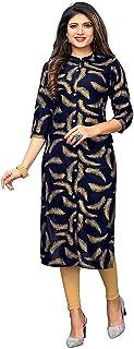 Indian Kurti For Women - Vbuyz Straight Blue Tunic Tops For Womens