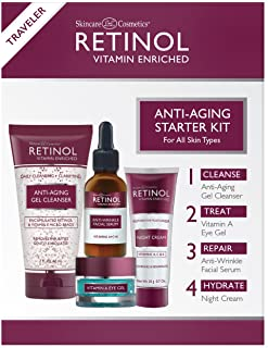 Retinol ضد پیری کیت شروع کننده - Retinol اصلی برای جوان تر - [4] محصولات مناسب اندازه ای مناسب برای مسافرت و یا برای اولین بار سعی کنید - تمیز کردن، درمان، تعمیر و هیدرات بر روی برو
