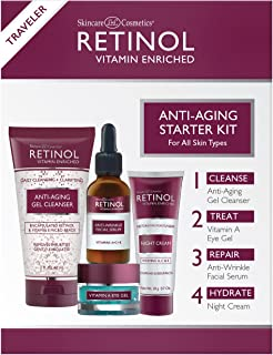 Retinol Anti-Aging Starter Kit – The Original Retinol For a Younger Look – [4] Conveniently Sized Products Perfect For Travel or First Time Try – Cleanse, Treat, Repair & Hydrate On-The-Go