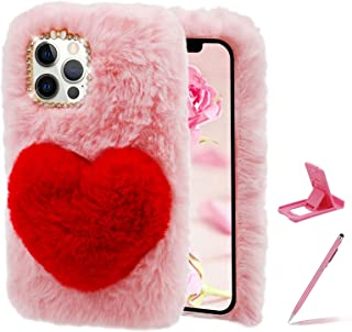 Herzzer Cute Winter Warm Furry Cover for iPod Touch 7/6/5,Women Girls Faux Fur Soft Fluffy Love Heart Back Case with Bling...