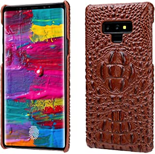 Note 9 Case, Reginn Genuine Leather Slim Fit Bumper [Wireless Charging Compatible] Crocodile Pattern Leather Phone Cover for Samsung Galaxy Note 9 (Crocodile Head Pattern, Brown)