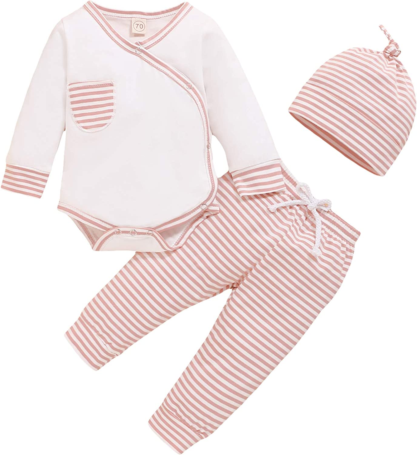Cocoday Newborn Baby Boy Girl Casual Clothes Long Sleeve Romper Solid Button Bodysuit + Striped Pants Fall Winter Outfit