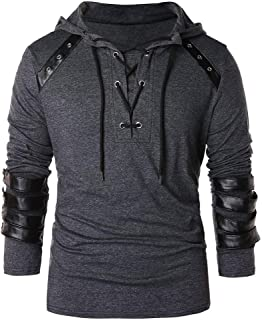 Men Winter Drawstring Vintage Leather Patchwork Long Sleeve Hooded Tops Blouses