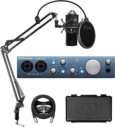 discount PreSonus AudioBox iTwo 2x2 USB/iOS Audio Interface for online sale Windows, iOS Bundle with Studio One Artist, lowest MXL 770 Cardioid Condenser Microphone, Blucoil Boom Arm Plus Pop Filter and 10-FT Balanced XLR Cable online sale