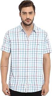 Mufti Men's Checkered Slim Fit Casual Shirt (MFS-9583-H-WH_White Blue_M)