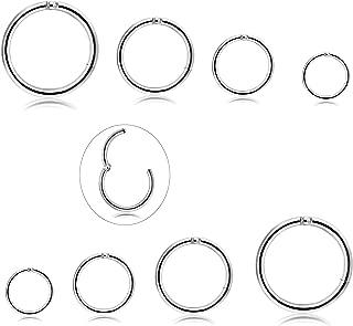 3-6Pairs Stainless Steel 16G Sleeper Earrings Septum Clicker Nose Lip Ring Body Piercing